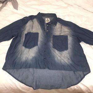UNIF Denim Washed Cold Shoulder Button Down Shirt